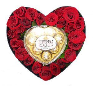 Corazón de Rosas con chocolate