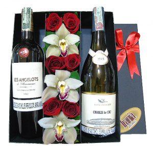 Rosas y Orquídeas con 2 vino francés (premium)