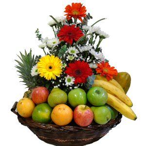 Arreglo flores y Frutas en canasta, irania floristeria bogota