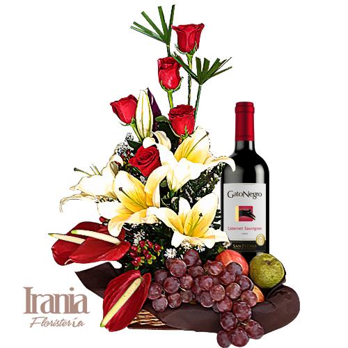canasta de flores y frutas con vino iraniafloristeria bogota