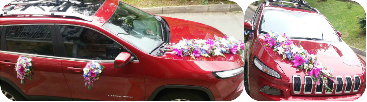 diseño carro novia , irania floristeria