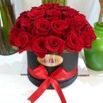 50 rosas en caja redonda irania floristeria