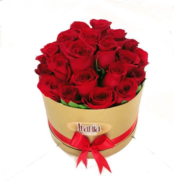 rosas en caja cilindro color dorada, irania floristeria bogota