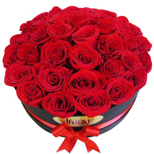 caja de rosas redonda frontal irania floristeria bogota
