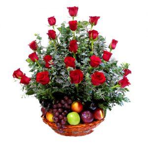 arreglo frutero , rosas y frutas , irania floristeria bogota