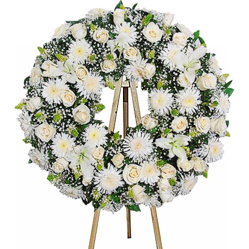 corona en tonos blancos irania floristeria