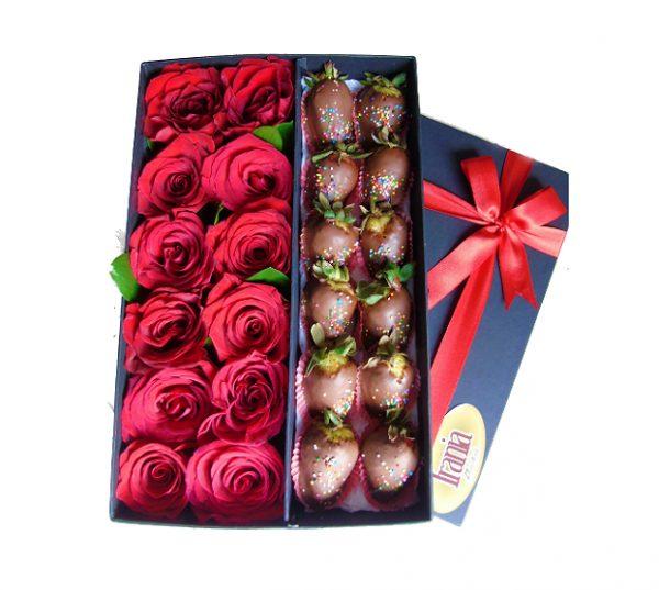 12 rosas con 12 fresas con chocolate en caja irania floristeria bogota