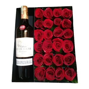 ROSAS y vino frances en caja irania floristeria bogota