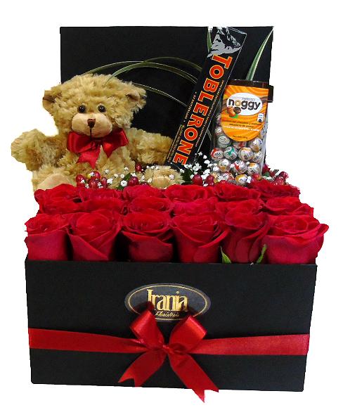 rosas y peluche con chocolates irania floristeria bogota.