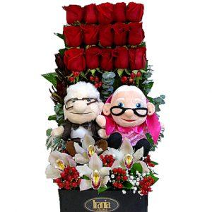 rosas con peluches up irania floristería bogota..