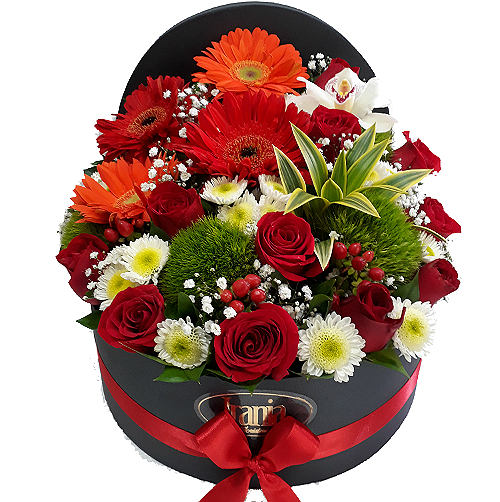 rosas en caja , irania floristeria bogota