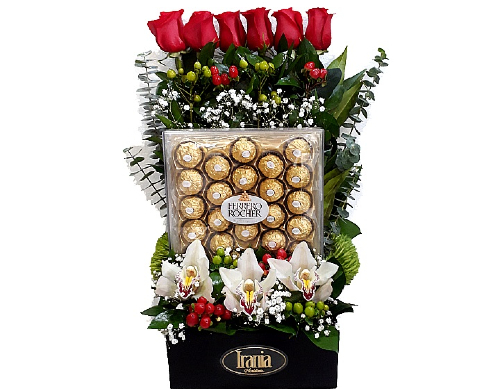 arreglo rosas con chocolate, irania floristería